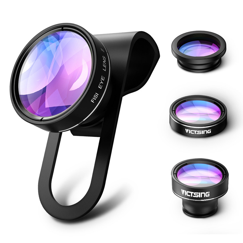 VicTsing 3 In 1 Universal Clip 180 Degree Camera Phone Lens Fisheye Lens+ 10X Macro+ 0.65X Wide Angle Lens Kit for Smartphones 10