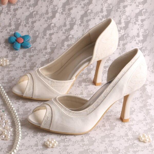 a5c5914e9 9 CM Calcanhar Peep Toe sapatos de Casamento Sapatos De Noiva Off white  Rendas e Cetim em Bombas das mulheres de Sapatos no AliExpress.com |  Alibaba Group