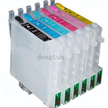 1 set for T0481 Empty refillable ink cartridge with ARC chips For EPSON STYLUS PHOTO R200/ R300/R300M/RX500/RX600 4pk empty refillable cartridge suit for hp10 suit for hp2000 hp2500 hp2800 series printer with arc chips