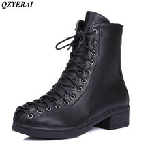 QZYERAI European autumn/winter low heel belt classic vintage Martin boots women boots women shoes