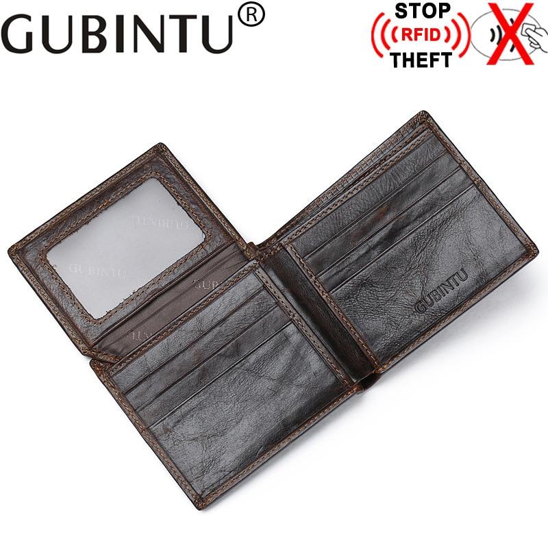 GUBINTU Brand RFID Protection Genuine Leather Men Wallets High Quality Designer Wallet Purses Gift for Men Card Holder