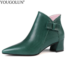 Genuine Leather Martin Boots Women Autumn Woman Mid Heels Shoes A304 Ladies Bowknot Brown Green Black Pointed Toe Ankle Boots цены онлайн