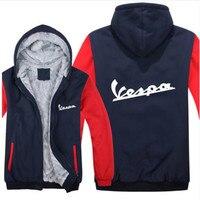 Vespa Hoodies Jacket Winter Men Casual Wool Liner Fleece Vespa Scooter Sweatshirts Hoody Pullover