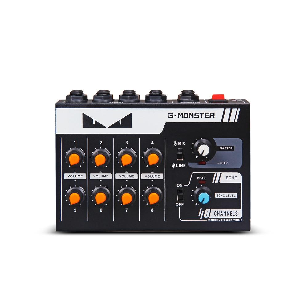 G-MARK 8 kanäle Mini tragbare mixer audio konsole Mono/Stereo Sound system Erweiterte für instrument mikrofon gitarre Bass