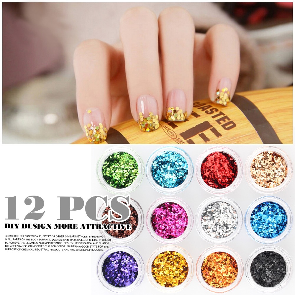 12 Colors Holographic Glitter Nail Art Strips Power Line For Acrylic ...