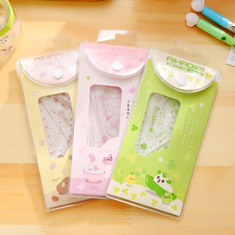 4pcs/set Patchwork Ruler Cute Stationery Sewing Ruler Set Of Drafting Rules Student Cute Design Rulers Kawaii School Supplies