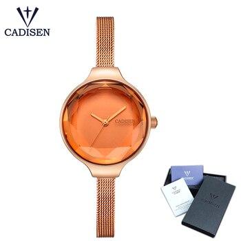 CADISEN 2018 New Fashion Brand Women Quartz Watch Stainless Steel Top Band Dress Watches Womens  Wristwatches Relogio Feminino Women Quartz Watches