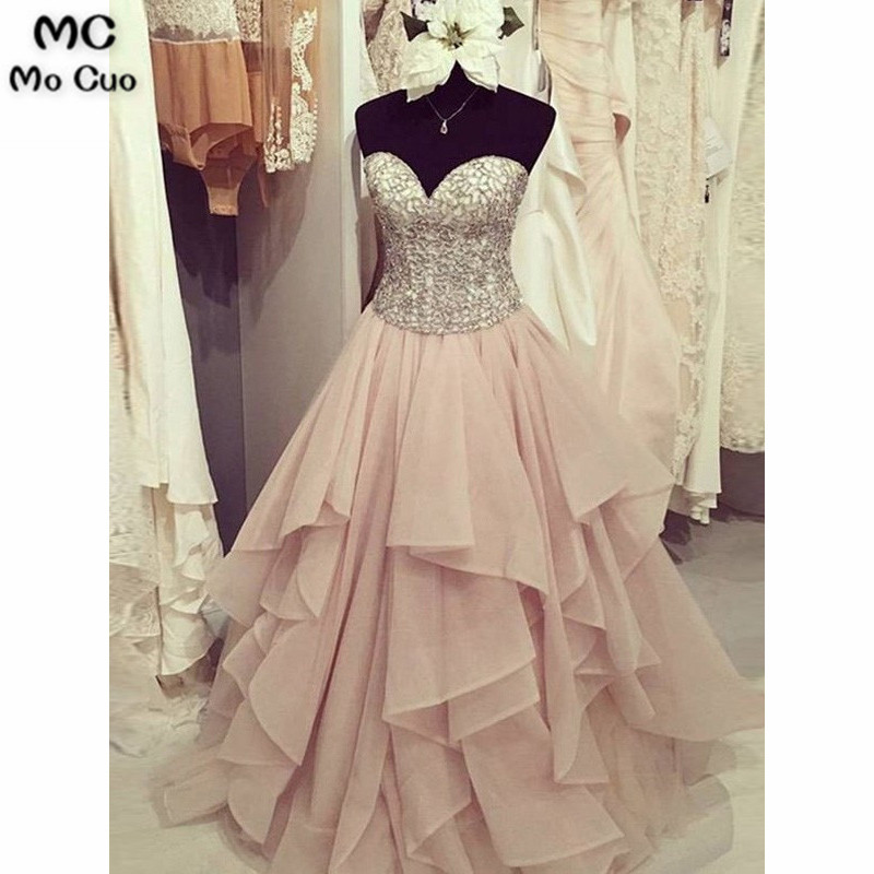 2019 Ball Gown   Prom     Dresses   with Heavy Crystal Beads by Hand Sweetheart Chiffon Ruffles Women Formal Long   Prom     Dresses