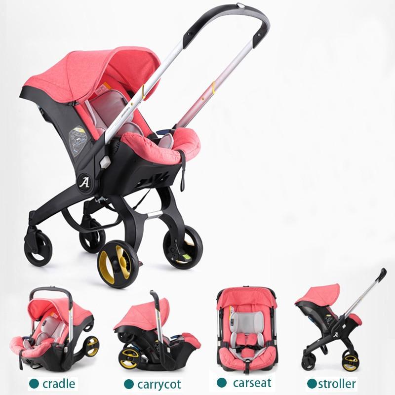Marque bébé poussettes 3 dans 1 voiture pliante lumière avec siège de voiture poussette et bébé bassinet Poussettes Pour Les Nouveau-nés Landscope 4 dans 1
