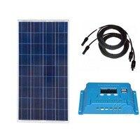 Солнечный комплект солнечная панель 12 В 150 Вт Контроллер заряда 12 В/24 В 10A Pv кабель автомобильный караван Кемпинг автокараваны автодома