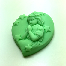 heart-shaped handmade soap silicone mold star pattern Angel Girl Carving mould
