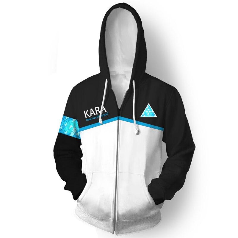 Sweatshirts Detroit: Become Human Connor RK800 Men and Women Hoodies Autumn Winter 3D Printing zipper Hooded coat