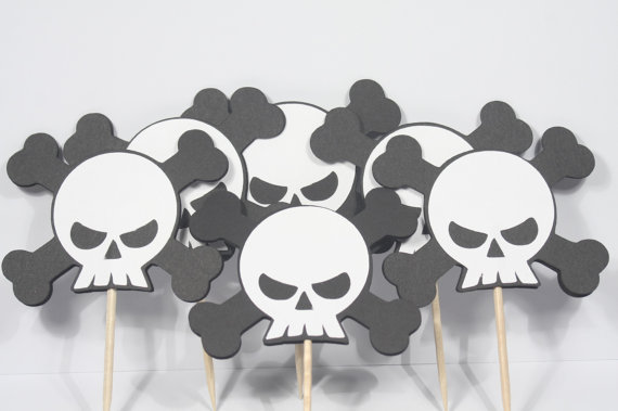 skeletonskull and crossbones cupcake toppers birthday appetizer picks halloween party toothpicks decor in cake decorating supplies