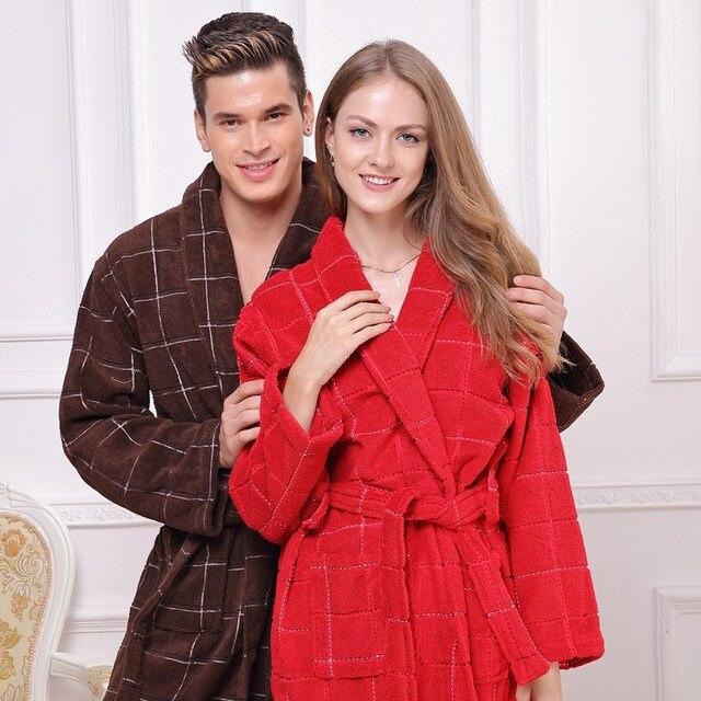 Cotton bathrobe women sexy towel sleepwear bathrobe for girls blanket  thickening lovers medium-long robe winter 0844099df