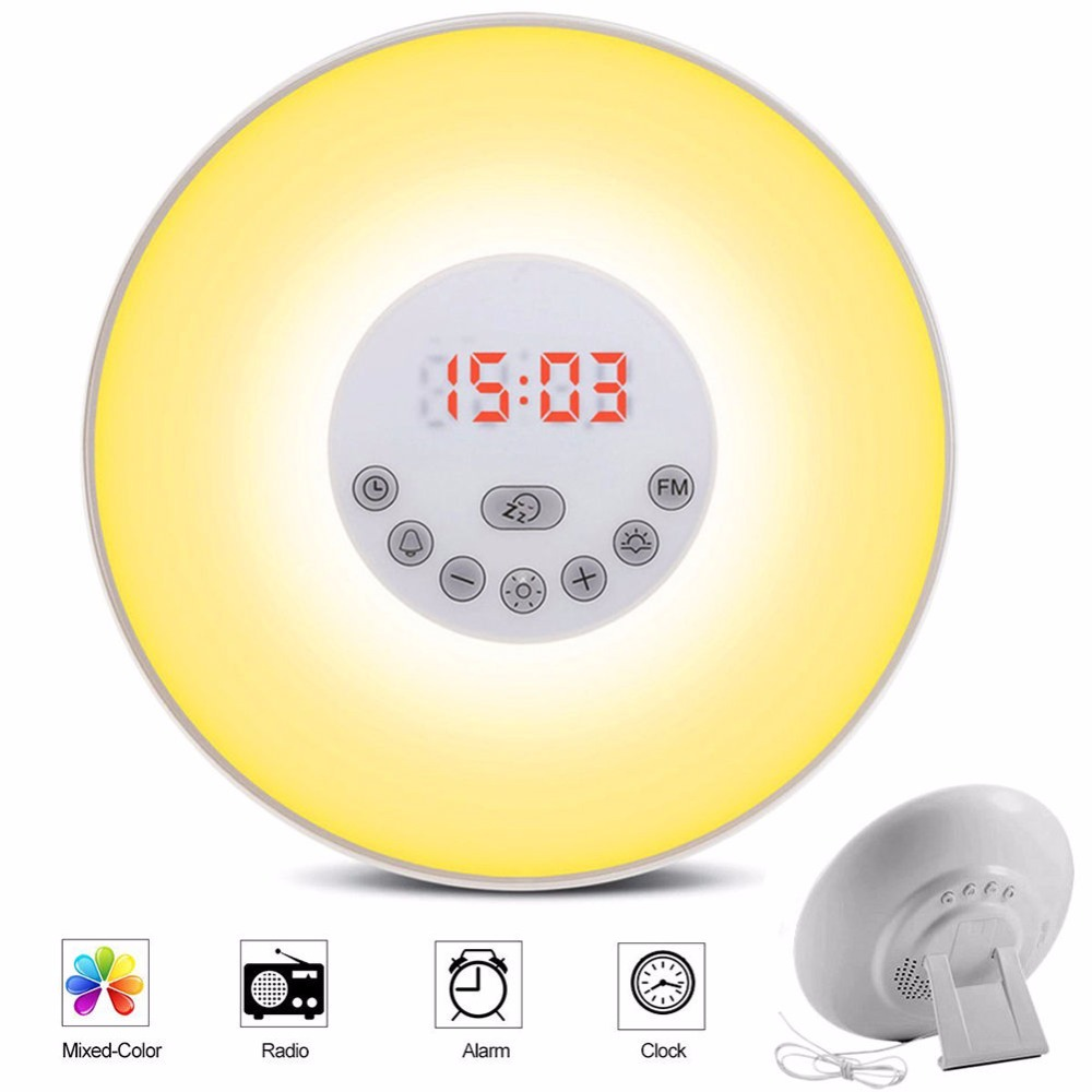 Wake-up Light Sunrise Alarm Clock LED FM Radio Bedside Night Lamp Touch Sensor Digital Time Display Desktop Beside Night Light mystery old time radio shows orginal radio broadcasts