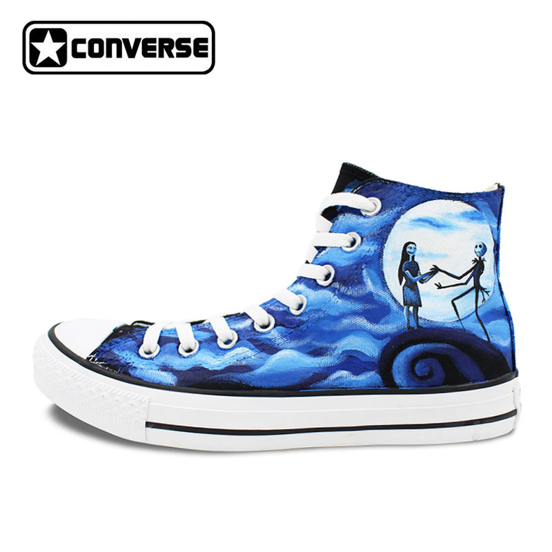 Men Women's Converse All Star Hand Painted Shoes The Nightmare Before Christmas Design High Top Canvas Sneakers Man Woman men women converse puerto rico flag hand painted artwork high top canvas shoes unique sneakers
