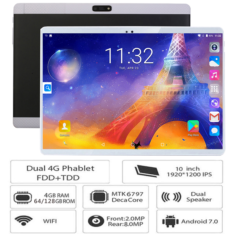 Tablets 10inch WIFI Dual-Camera Deca-Core Android-7.0 4G LTE GPS Bluetooth 128GB SIM