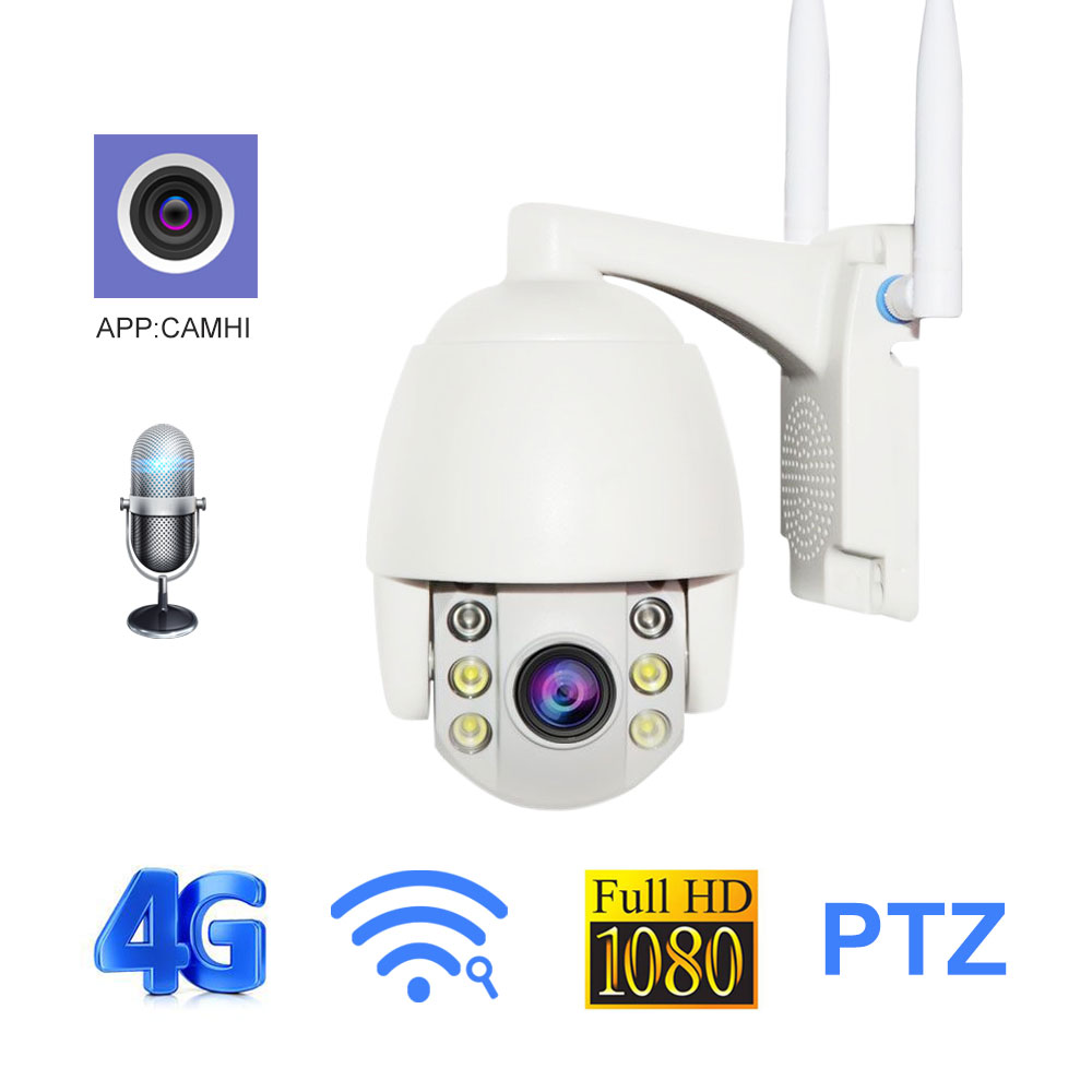 4G 3G WIFI IP Camera 1080P 2MP Two Way Audio PTZ 5X Zoom Security CCTV Camera