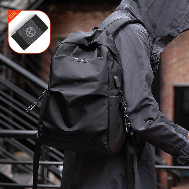 Mazzy כוכב חדש בית ספר אופנה גברים תרמיל שקית מים הוכחת תרמיל גברים חיצוני USB תשלום תרמיל MS_936