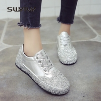 SWYIVY Woman Casual Shoes Diamond Sequins 2018 Spring Lace Flat Sneakers Woman Ladies Leisure Sneakers Shoes Sliver Casual Shoes