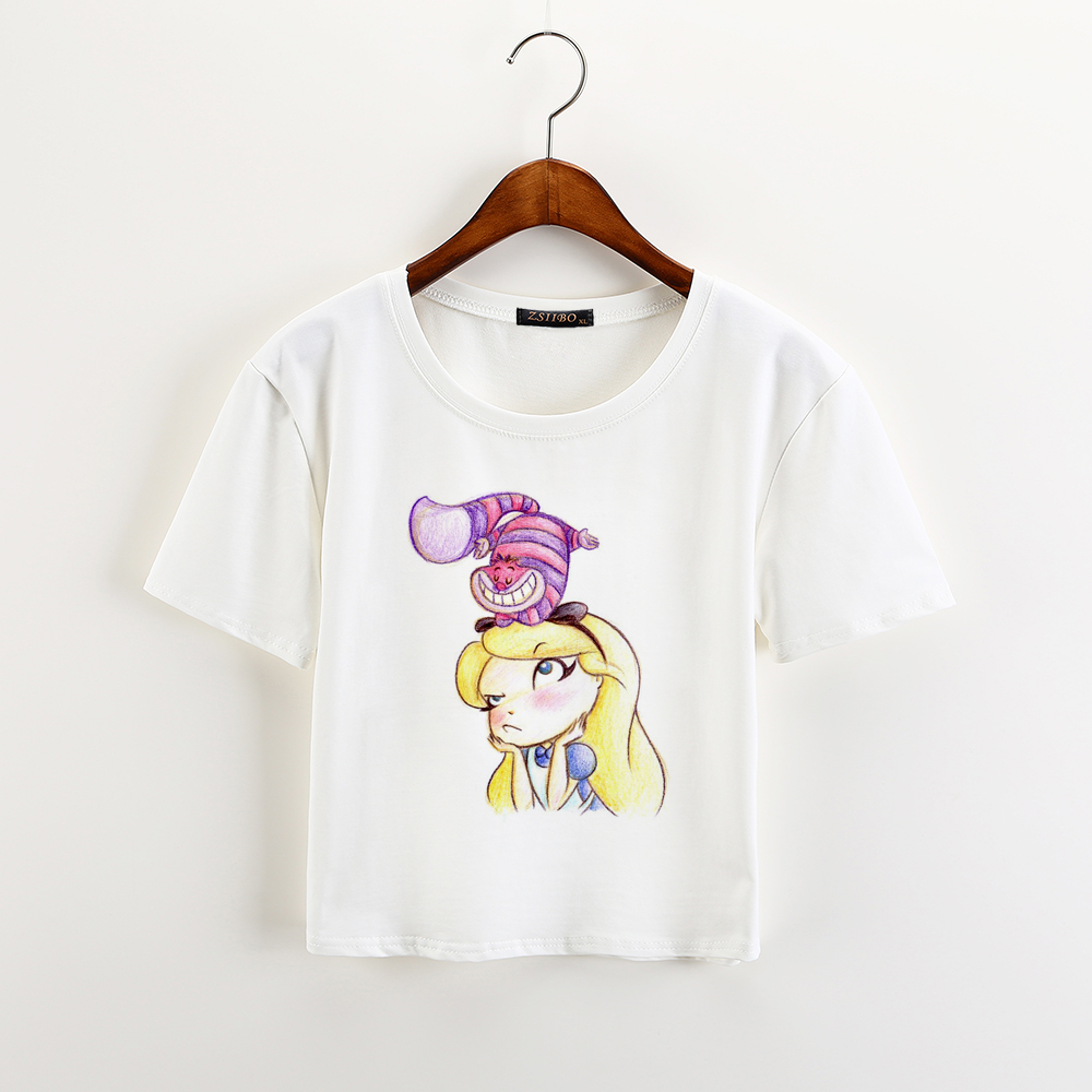 Scribble Drawing T Shirt : Zsiibo cute pencil drawing snow white crop top sweet