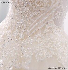 Image 5 - Noble Ball Gowns Plus Size Wedding Dress Chapel Train Bride Wedding Scoop Neckline Short Sleeves Ves tidos De Novia With Beaded