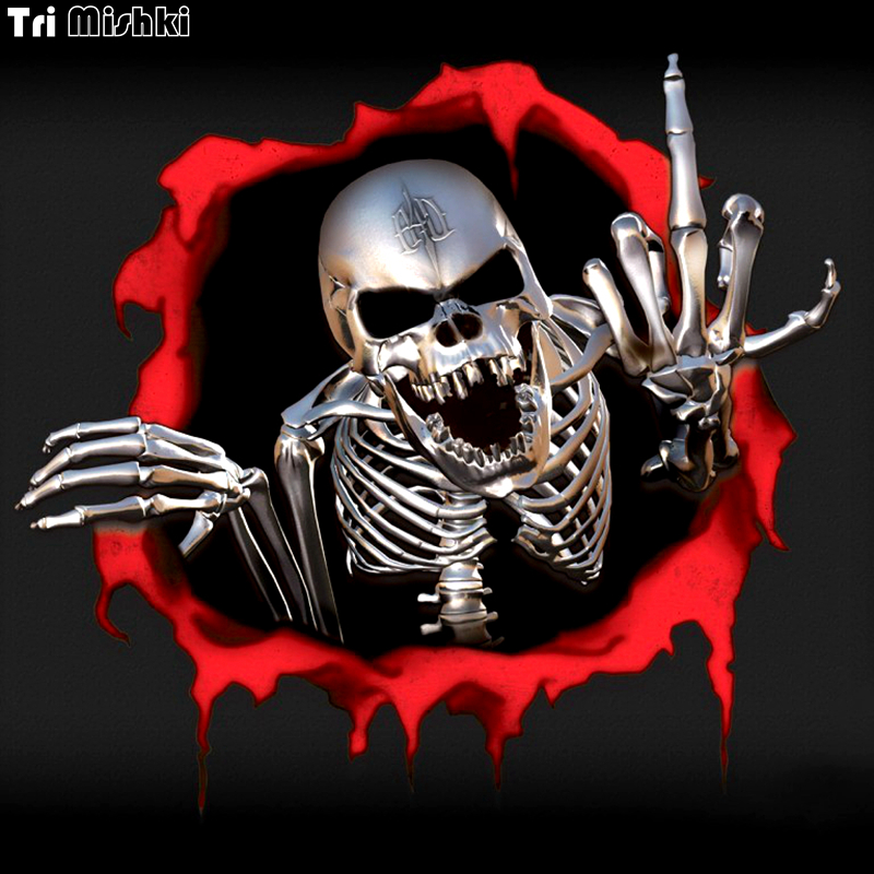 Tri Mishki 15*14cm metal skeleton skull in the Bullet hole car sticker funny colorful car stickers auto automobile decals WCS010