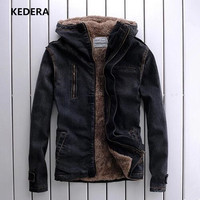 2016 New Winter Fashion Men Denim Jacket Coat Casual Jeans With Fur Collar Plus Size 7XL