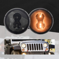 Smoked Lens Amber color LED Turn Signal Lamps For 2007 2017 Jeep Wrangler Front grill Plug in Paly