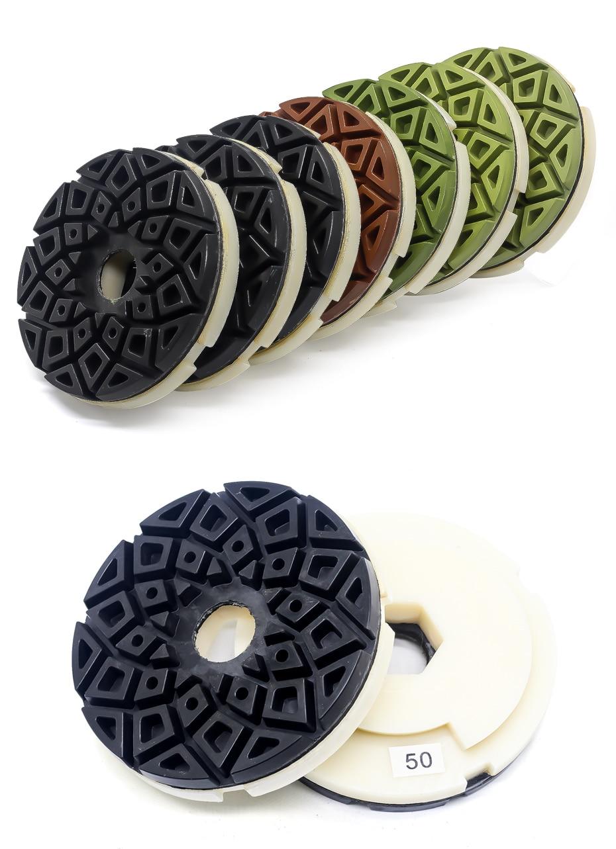 5 inch edge polishing pads abrasive polishing wheels snail lock back for marble and granite