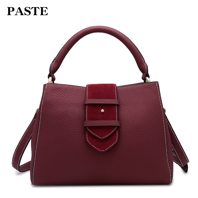 2017 Winter All-match Women's Handbag Genuine Leather Suede Female Shoulder Bag Vintage Belt Decoration Valentine's Day Gift the explosion of the classic all match solid colored body hip high elastic denim pants feet female winter bag mail