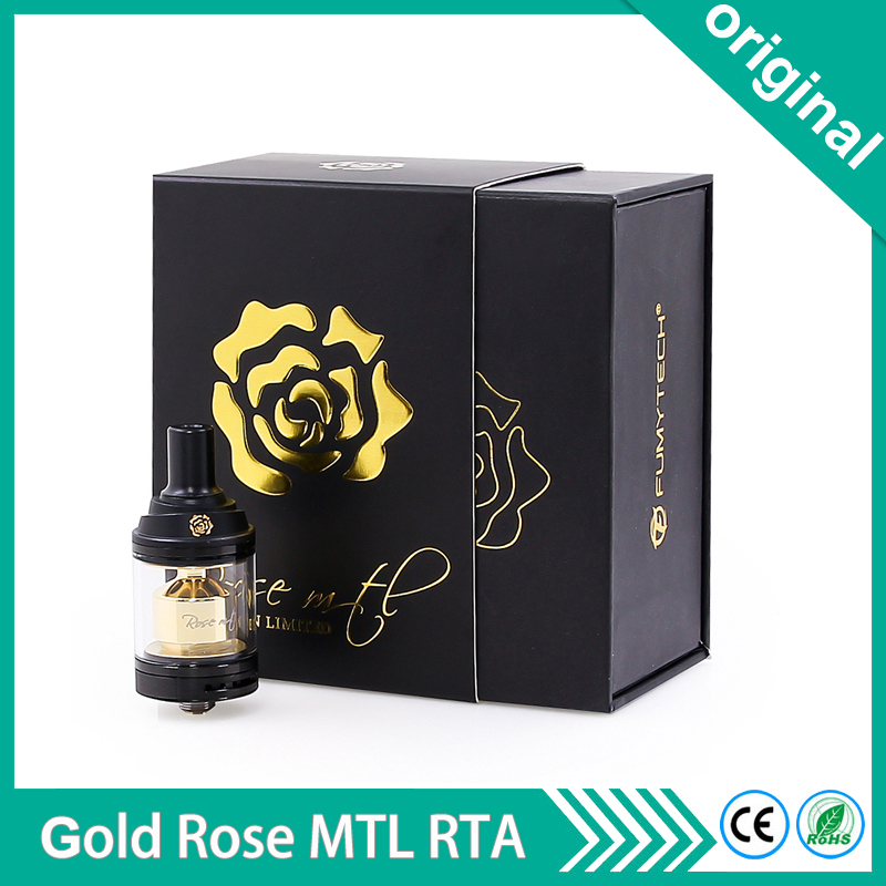 Authentic Fumytech rose MTL RTA tank GOLD EDITION Rebuildable Atomizer 3 5ml 24mm POM Drip tip