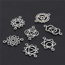50pcs Vintage Antique Silver 7 Chakra Zinc Alloy Yoga Charm Connector OM Pendant Fit Handmade Jewelry DIY(China)