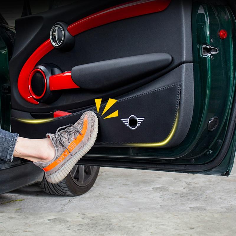 Skóra z mikrofibry wewnętrzny montowany na drzwiach samochodu ochrony panelu Anti Kick naklejka foliowa dla Mini Cooper R56 R60 F54 F55 F56 F60 Countryman