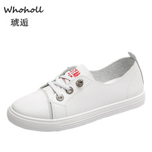 Whoholl Women Vulcanize Shoes Breathble Vulcanized Genuine Leather Platform Lace Up Casual White