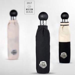 Image 3 - Camellia parapluie pliable, marque de luxe, automatique, UV, haute qualité, transparent, pluie pour hommes et femmes