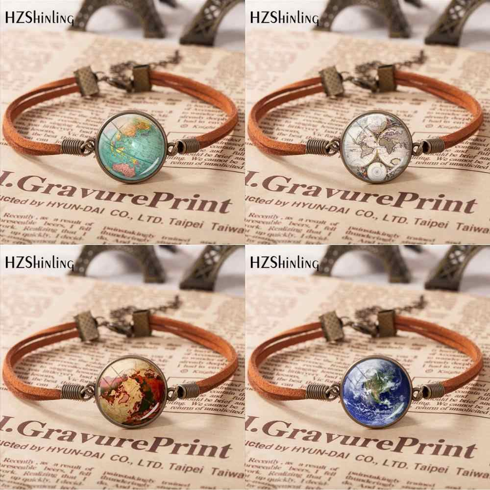 Hot Sale Vintage Leather Bracelet Planet Earth World Globe Map Bracelets Art Glass Dome Bangle Jewelry Adjustable  Bracelet