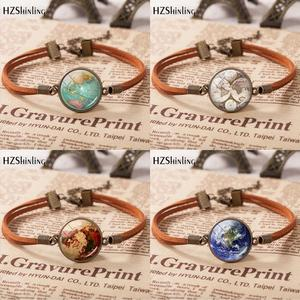Hot Sale Vintage Leather Bracelet Planet Earth World Globe Map Bracelets Art Glass Dome Bangle Jewelry Adjustable Bracelet(China)