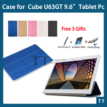 For u63 case Newest High Quality PU Protective Case For CUBE U63GT U63 9.6″Tablet + free 3 gifts