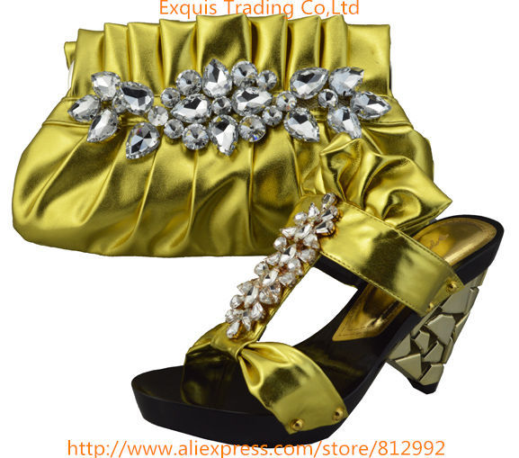 ФОТО Hot glitter Italy matching shoe and bag set with glass rhinestone with free shipping for party 1308-L6 Size 38-43 gold
