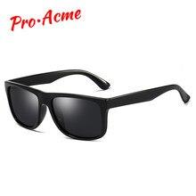 9a70ca3195 Pro Acme Marque Classique Hommes HD Polarisé Carrés lunettes de Soleil  lentille miroir lunettes de soleil unisexe Cadre Noir Lun.