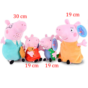 Image 1 - Peppa pig George pepa Pig Family Plush Toys 19 & 30 cm peppa pig bag Stuffed Doll Party decorations Schoolbag Ornament Keychain