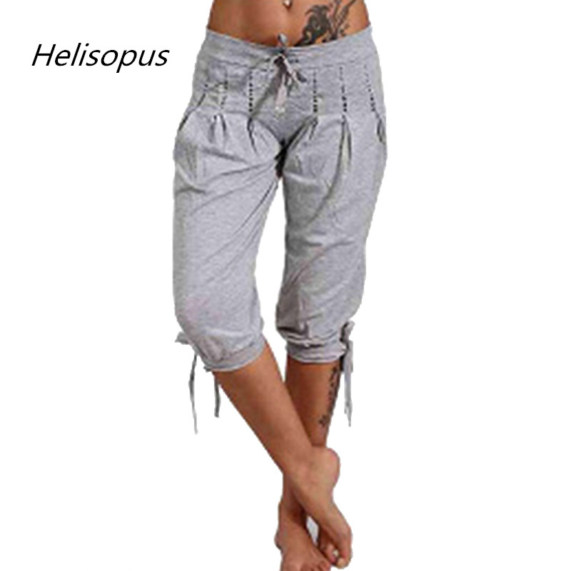 Helisopus New Women's Fashion Cotton Linen Short Trouser   Pants   Women's Solid Color Seven Casual Loose   Capri     Pants   Plus Size 5XL