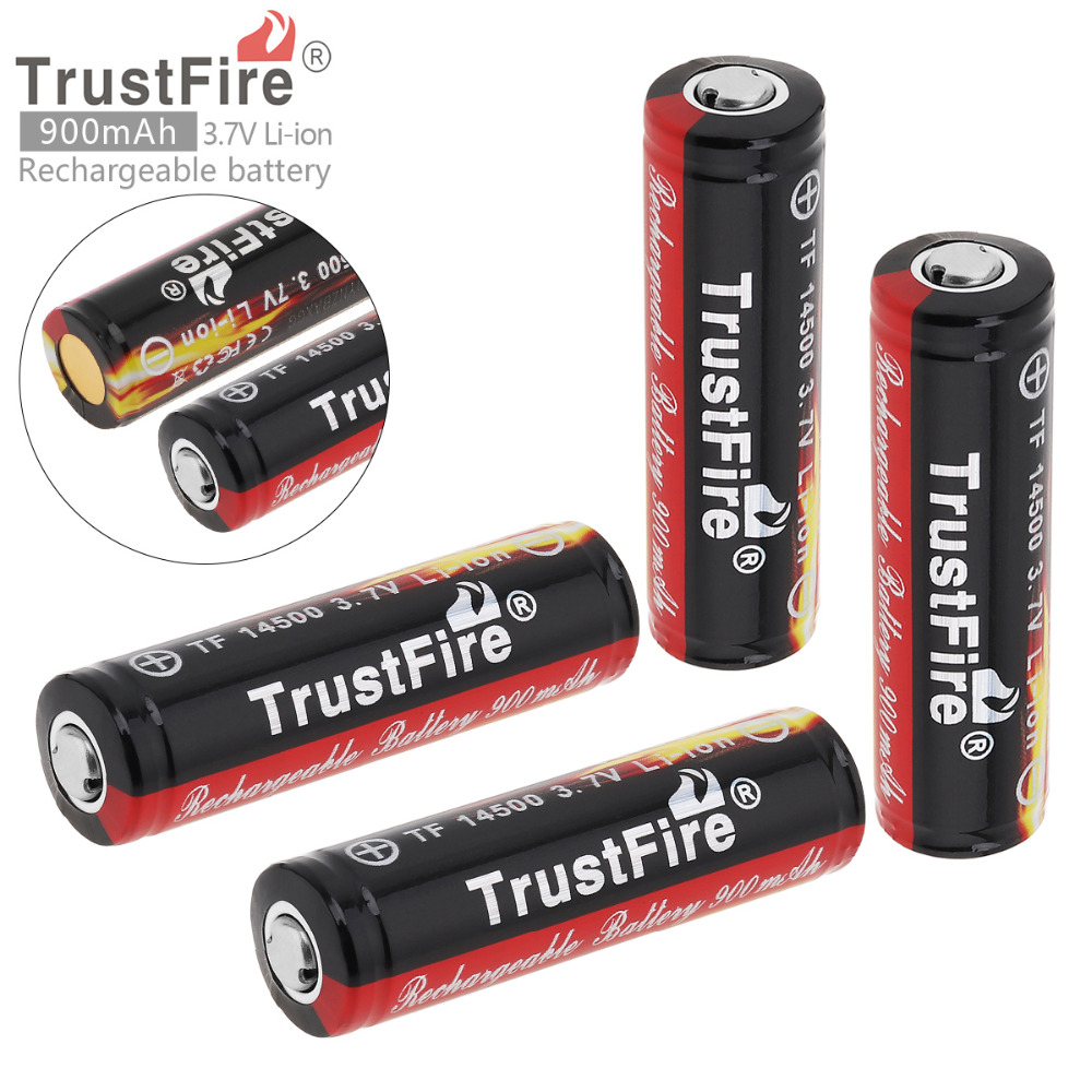 4Pcs set TrstFire 14500 Battery 3 7V ICR14500 900Mah Li ion Rechargeable Battery Batteries Baterias Bateria