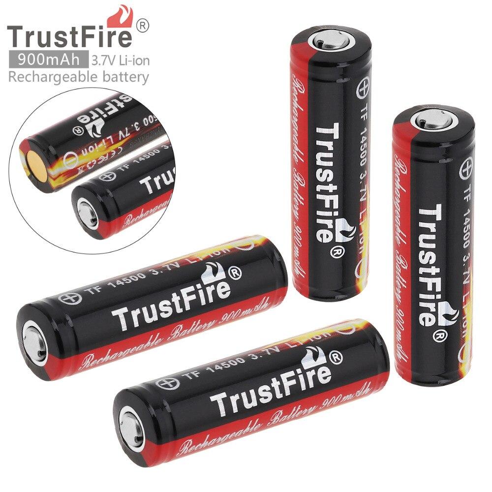 4Pcs/set TrstFire 14500 Battery 3.7V ICR14500 900Mah Li-ion Rechargeable Battery Batteries Baterias Bateria For LED Flashlight
