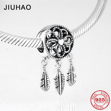 New fashion 925 Sterling Silver feathers and flowers fine Pendants beads Fit Original Pandora Charms Bracelets making(China)