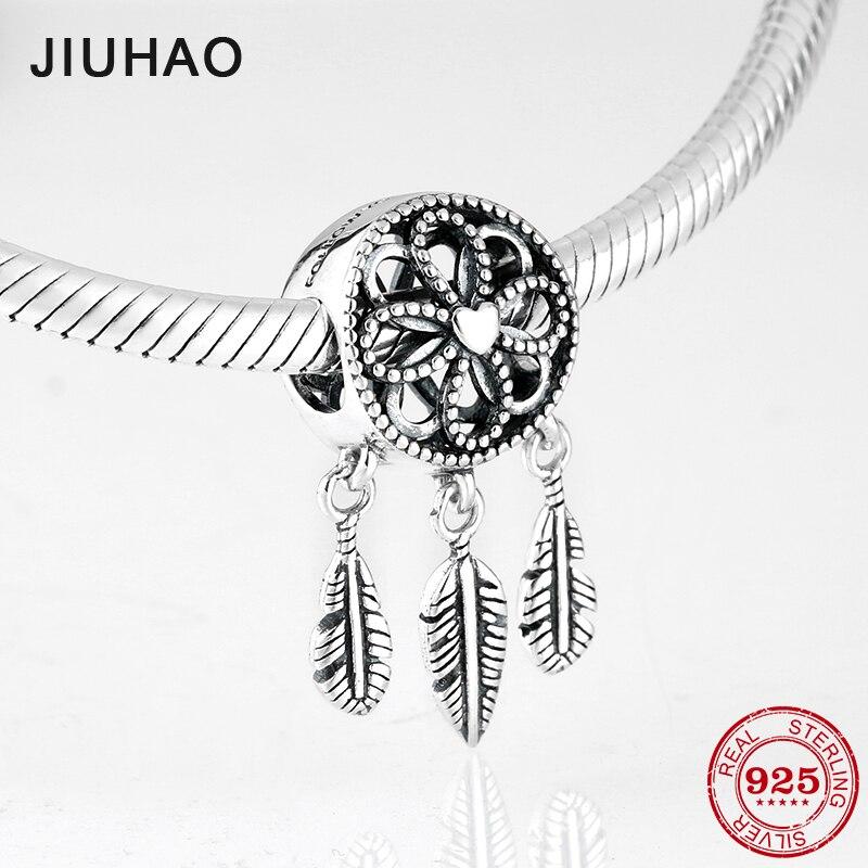 Nova moda 925 prata esterlina penas e flores pingentes finos contas caber pandora encantos originais pulseiras fazendo