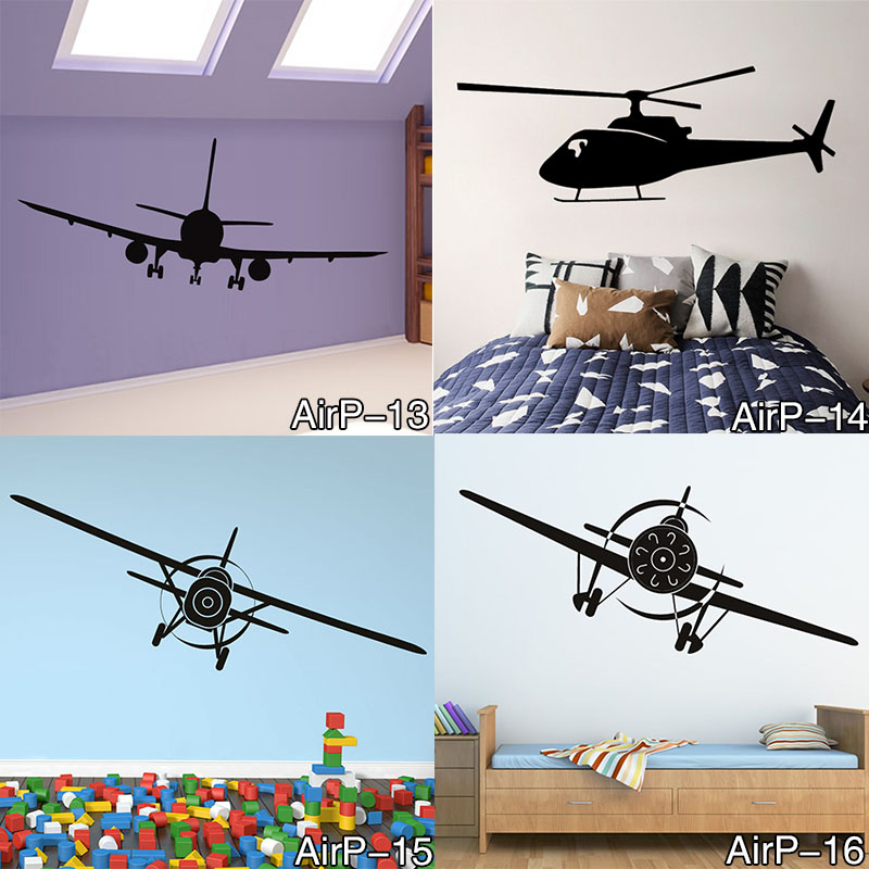 Airplane Wall Sticker Bedroom Removable Helicopter Vinyl Adhesive Home Decor Wall Decals Mural for Kids Room and Boys image