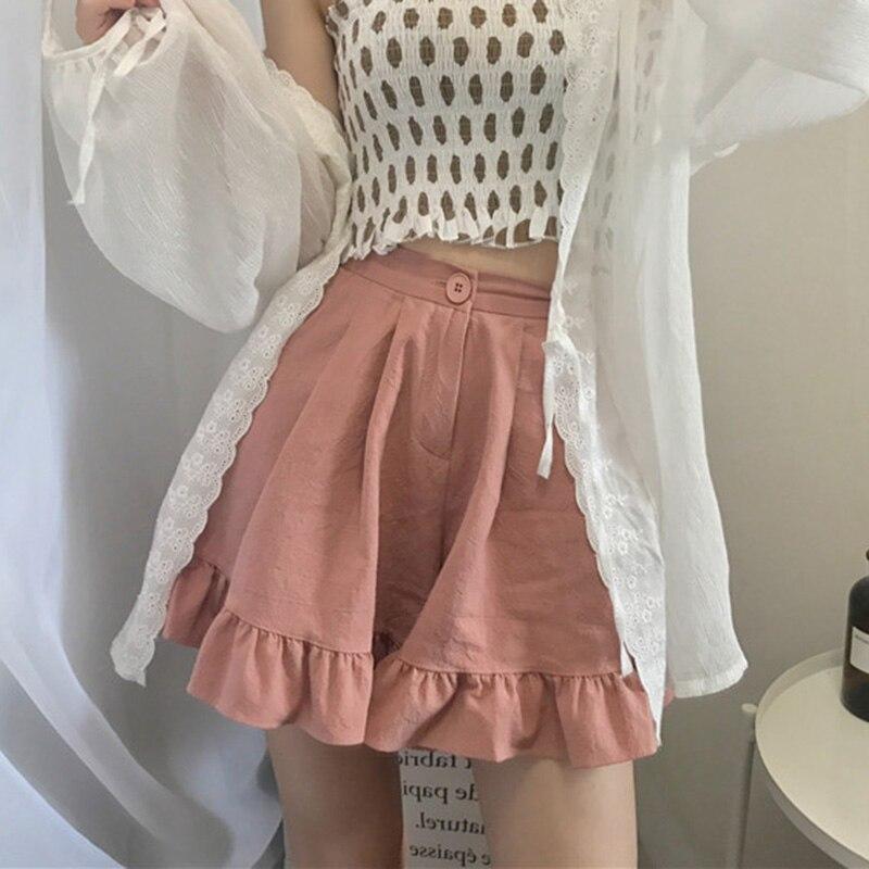 Korean New High Elastic Waist Cute Soft Sister Shorts For Women Summer Japanese Slim Casual Ruffle Shorts Female Wide Leg Shorts Шорты