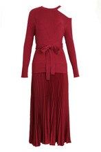 Kenvy бренд высокого класса люкс Осенняя женская обувь Тонкий Асимметричная отделка строчками Пояса плиссированные длинными рукавами вязаное платье